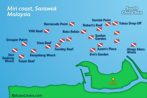 Dive Miri and Sarawak Map