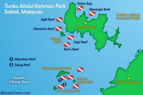 Dive the Tunku Abdul Rahman Park near Kota Kinabalu Map